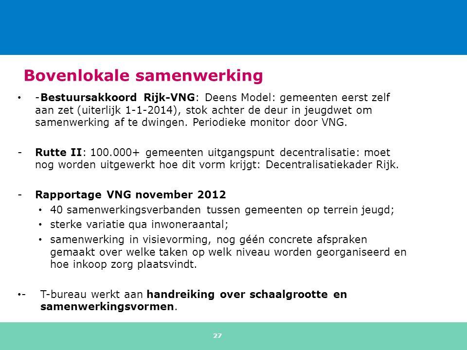 Bovenlokale samenwerking -Bestuursakkoord Rijk-VNG: Deens Model: gemeenten eerst zelf aan zet (uiterlijk 1-1-2014), stok achter de deur in jeugdwet om samenwerking af te dwingen.
