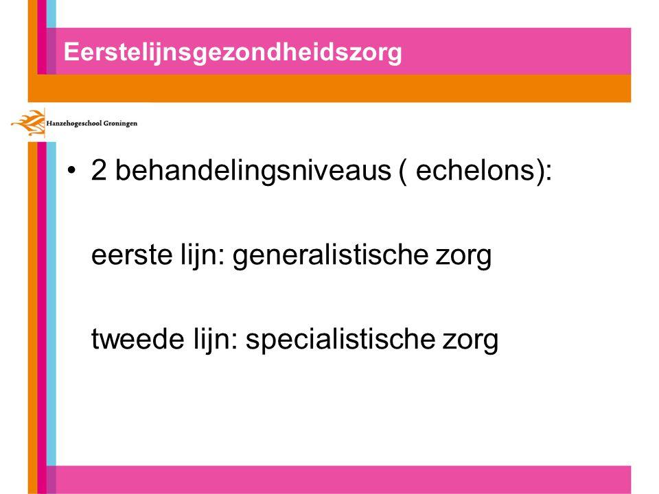 Eerstelijnsgezondheidszorg 2 behandelingsniveaus ( echelons): eerste lijn: generalistische zorg tweede lijn: specialistische zorg
