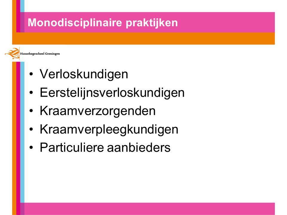 Monodisciplinaire praktijken Verloskundigen Eerstelijnsverloskundigen Kraamverzorgenden Kraamverpleegkundigen Particuliere aanbieders