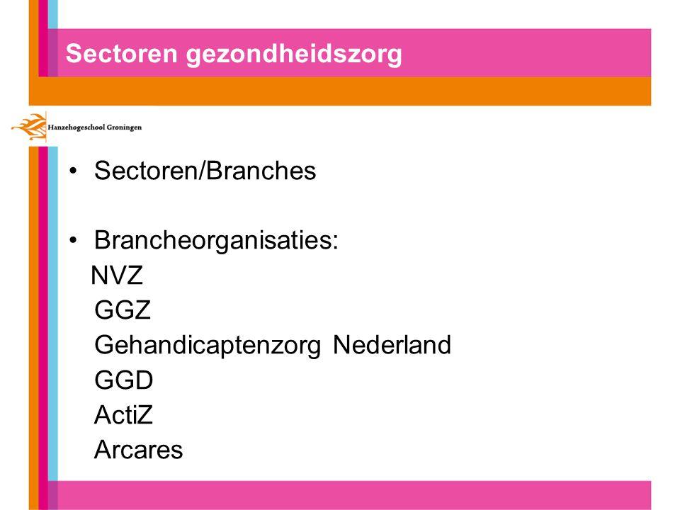 Sectoren gezondheidszorg Sectoren/Branches Brancheorganisaties: NVZ GGZ Gehandicaptenzorg Nederland GGD ActiZ Arcares