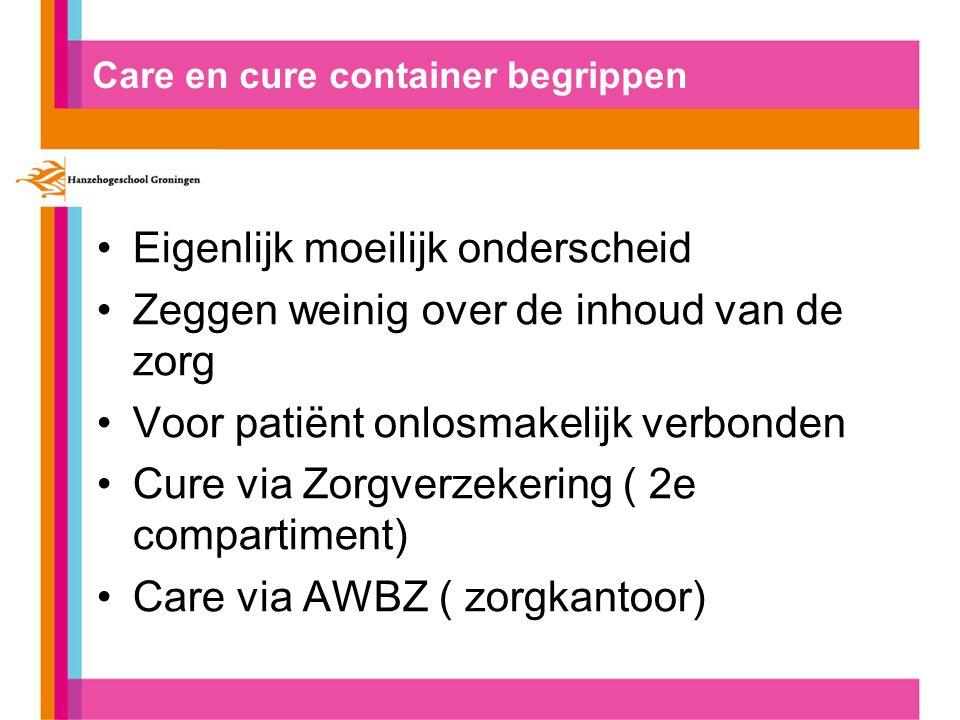 Care en cure container begrippen Eigenlijk moeilijk onderscheid Zeggen weinig over de inhoud van de zorg Voor patiënt onlosmakelijk verbonden Cure via