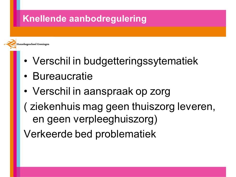 Knellende aanbodregulering Verschil in budgetteringssytematiek Bureaucratie Verschil in aanspraak op zorg ( ziekenhuis mag geen thuiszorg leveren, en