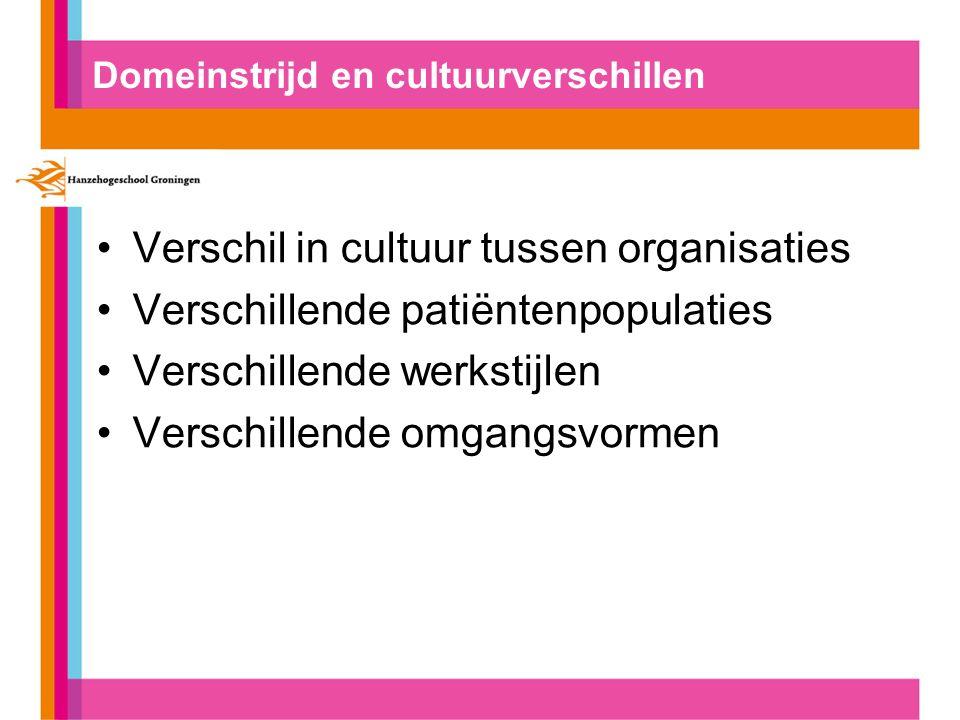 Domeinstrijd en cultuurverschillen Verschil in cultuur tussen organisaties Verschillende patiëntenpopulaties Verschillende werkstijlen Verschillende o