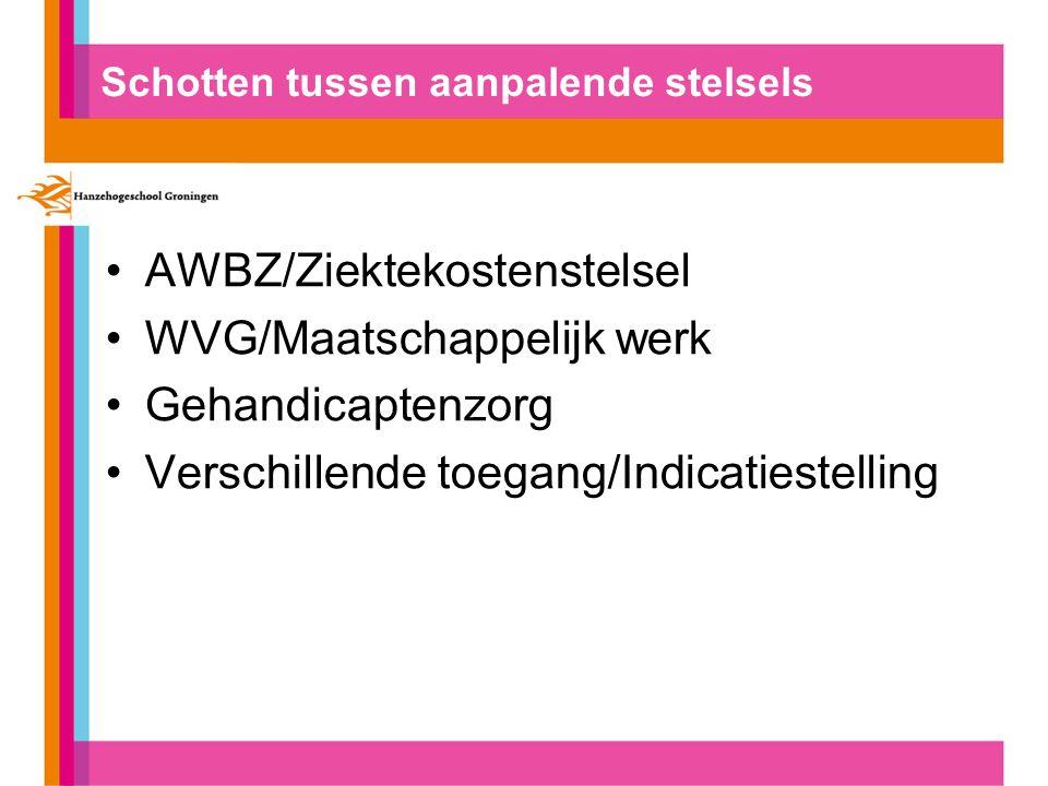 Schotten tussen aanpalende stelsels AWBZ/Ziektekostenstelsel WVG/Maatschappelijk werk Gehandicaptenzorg Verschillende toegang/Indicatiestelling