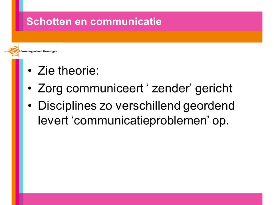 Schotten en communicatie Zie theorie: Zorg communiceert ' zender' gericht Disciplines zo verschillend geordend levert 'communicatieproblemen' op.