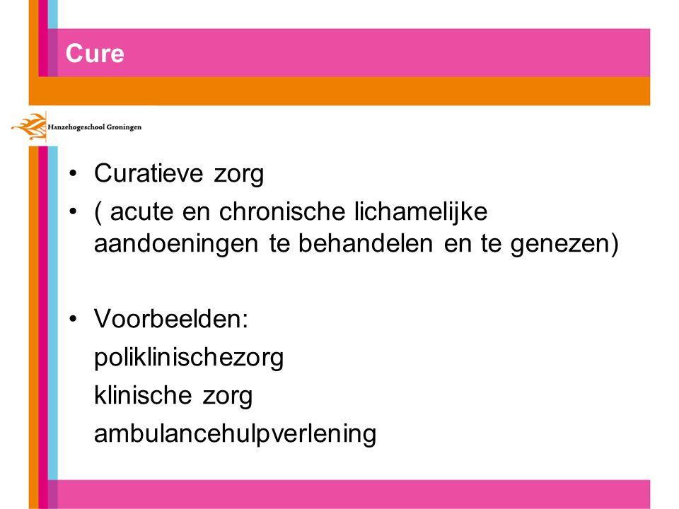 Cure Curatieve zorg ( acute en chronische lichamelijke aandoeningen te behandelen en te genezen) Voorbeelden: poliklinischezorg klinische zorg ambulan