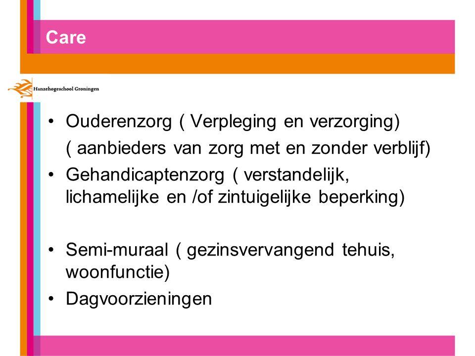 Care Ouderenzorg ( Verpleging en verzorging) ( aanbieders van zorg met en zonder verblijf) Gehandicaptenzorg ( verstandelijk, lichamelijke en /of zint