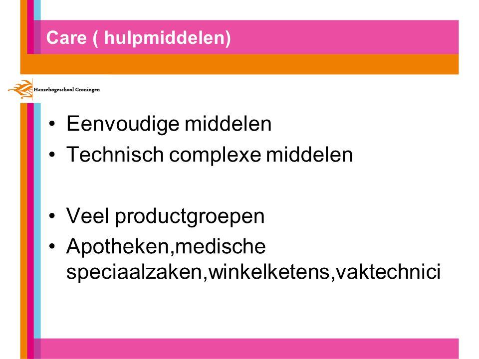 Care ( hulpmiddelen) Eenvoudige middelen Technisch complexe middelen Veel productgroepen Apotheken,medische speciaalzaken,winkelketens,vaktechnici