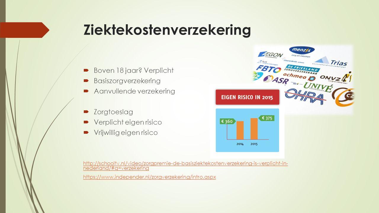 Ziektekostenverzekering  Boven 18 jaar.