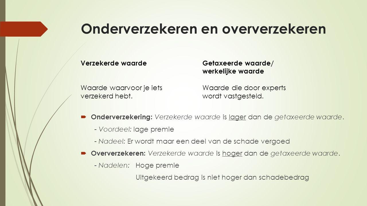 Onderverzekeren en oververzekeren  Onderverzekering: Verzekerde waarde is lager dan de getaxeerde waarde.