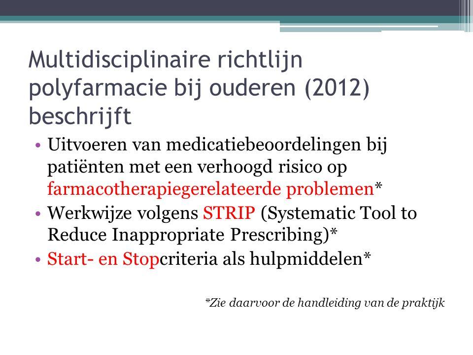 Multidisciplinaire richtlijn polyfarmacie bij ouderen (2012) beschrijft Uitvoeren van medicatiebeoordelingen bij patiënten met een verhoogd risico op