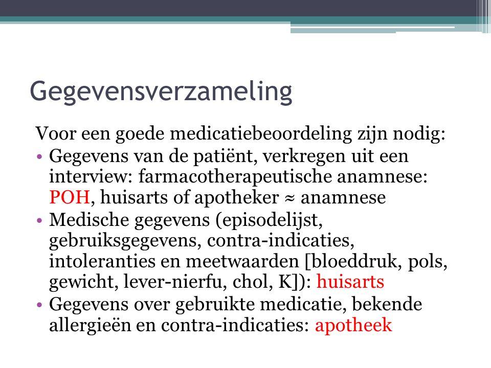 Gegevensverzameling Voor een goede medicatiebeoordeling zijn nodig: Gegevens van de patiënt, verkregen uit een interview: farmacotherapeutische anamne