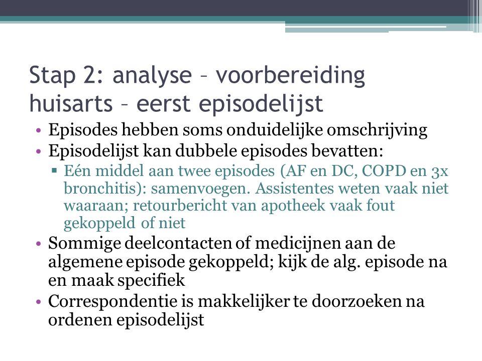 Stap 2: analyse – voorbereiding huisarts – eerst episodelijst Episodes hebben soms onduidelijke omschrijving Episodelijst kan dubbele episodes bevatte