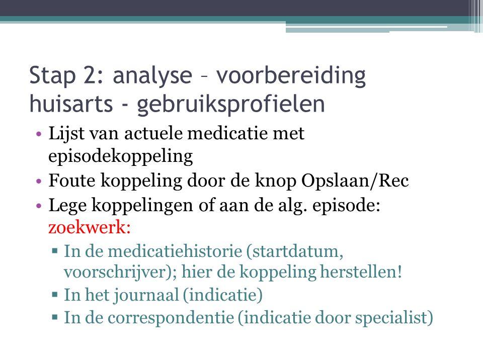 Stap 2: analyse – voorbereiding huisarts - gebruiksprofielen Lijst van actuele medicatie met episodekoppeling Foute koppeling door de knop Opslaan/Rec