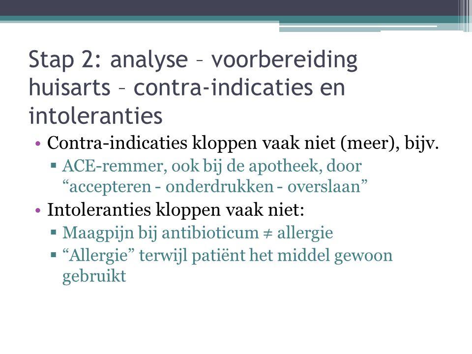 Stap 2: analyse – voorbereiding huisarts – contra-indicaties en intoleranties Contra-indicaties kloppen vaak niet (meer), bijv.  ACE-remmer, ook bij