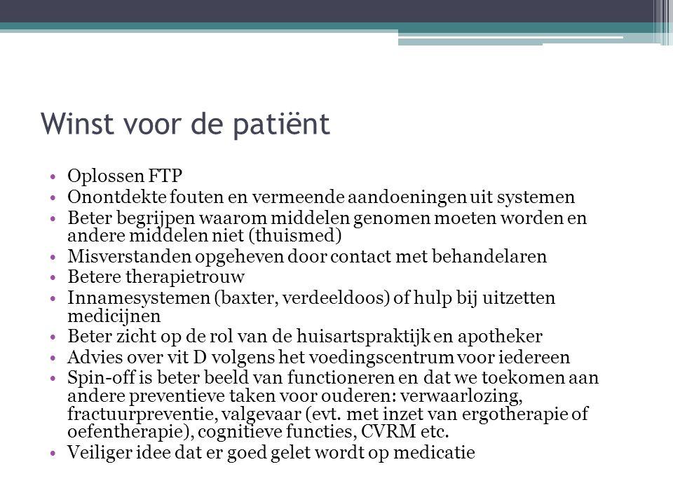Winst voor de patiënt Oplossen FTP Onontdekte fouten en vermeende aandoeningen uit systemen Beter begrijpen waarom middelen genomen moeten worden en a