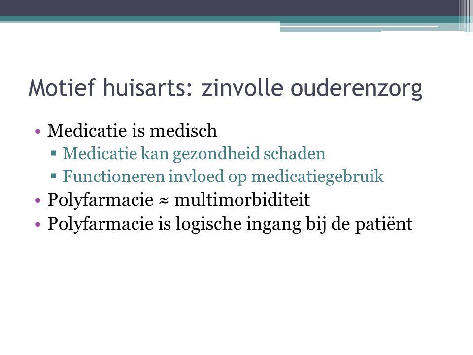 Motief huisarts: zinvolle ouderenzorg Medicatie is medisch  Medicatie kan gezondheid schaden  Functioneren invloed op medicatiegebruik Polyfarmacie