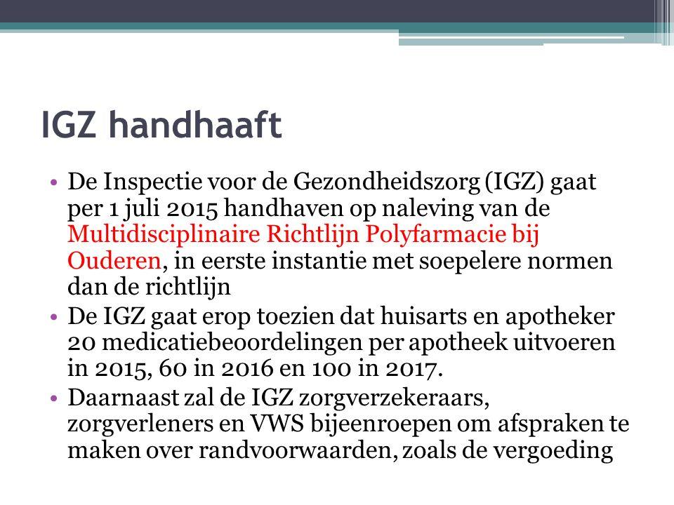 IGZ handhaaft De Inspectie voor de Gezondheidszorg (IGZ) gaat per 1 juli 2015 handhaven op naleving van de Multidisciplinaire Richtlijn Polyfarmacie b
