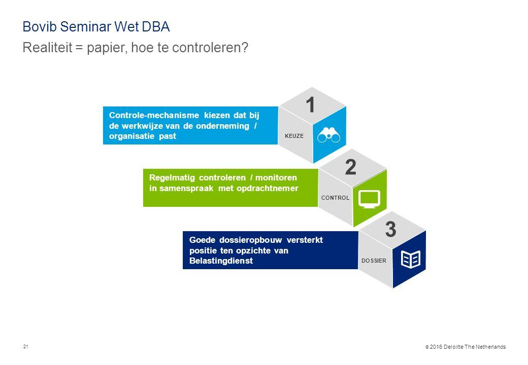 © 2016 Deloitte The Netherlands Bovib Seminar Wet DBA Realiteit = papier, hoe te controleren.