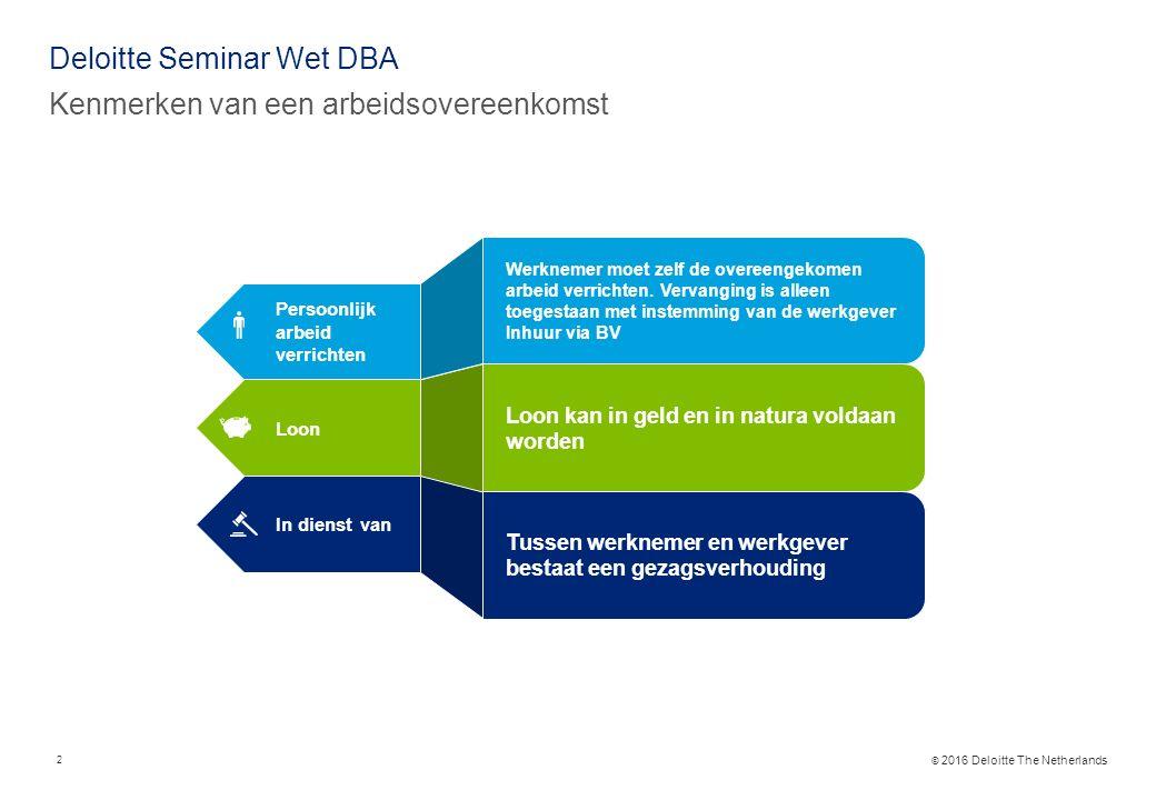 © 2016 Deloitte The Netherlands Deloitte Seminar Wet DBA Kenmerken van een arbeidsovereenkomst Persoonlijk arbeid verrichten Loon In dienst van Werknemer moet zelf de overeengekomen arbeid verrichten.