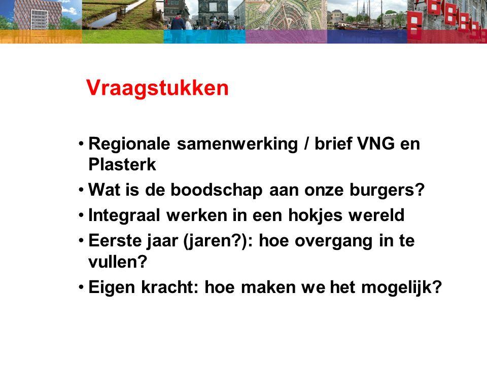 Vraagstukken Regionale samenwerking / brief VNG en Plasterk Wat is de boodschap aan onze burgers.