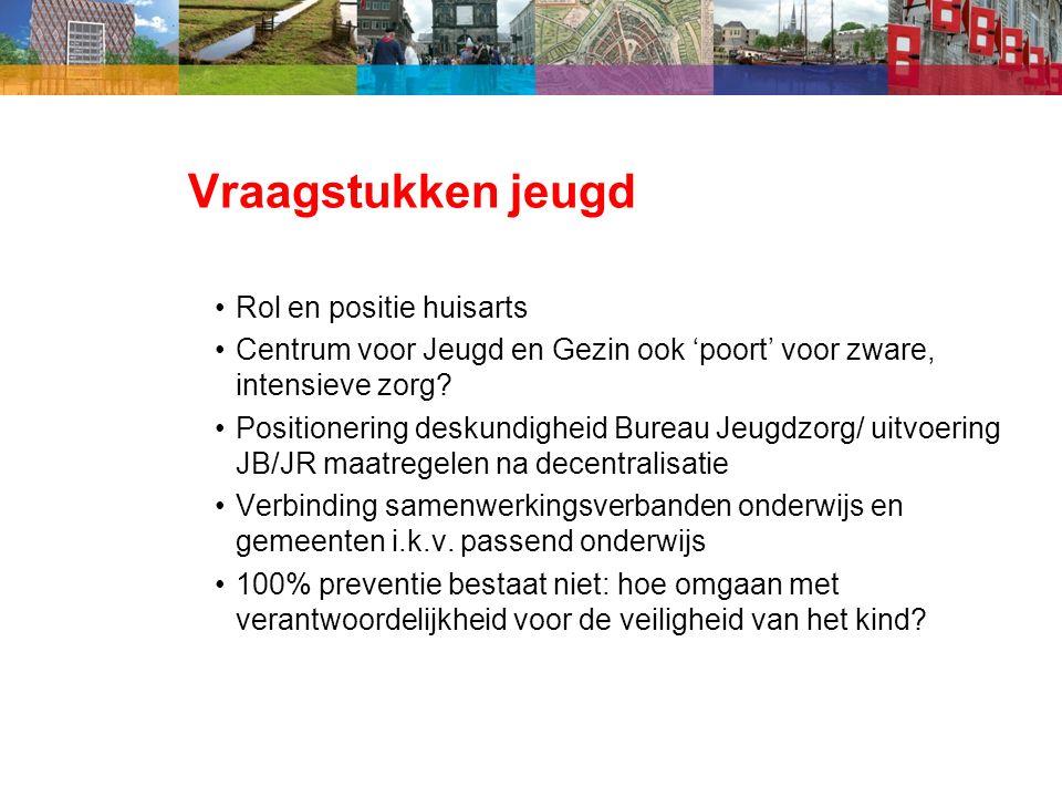 Vraagstukken jeugd Rol en positie huisarts Centrum voor Jeugd en Gezin ook 'poort' voor zware, intensieve zorg.