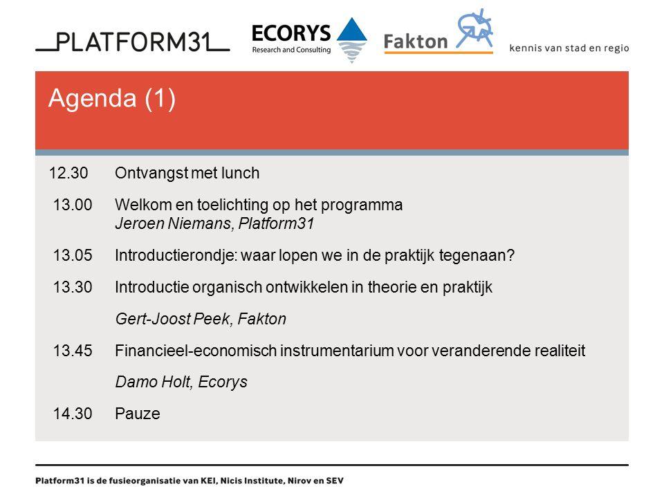 Agenda (1) 12.30Ontvangst met lunch 13.00Welkom en toelichting op het programma Jeroen Niemans, Platform31 13.05Introductierondje: waar lopen we in de praktijk tegenaan.