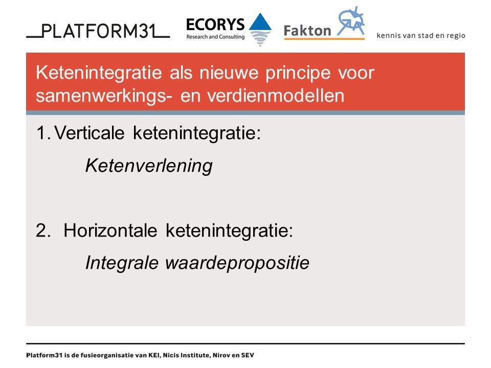Ketenintegratie als nieuwe principe voor samenwerkings- en verdienmodellen 1.Verticale ketenintegratie: Ketenverlening 2.Horizontale ketenintegratie: Integrale waardepropositie