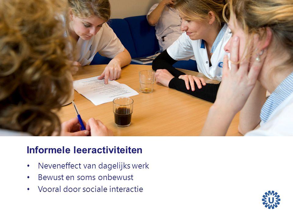 Informele leeractiviteiten Neveneffect van dagelijks werk Bewust en soms onbewust Vooral door sociale interactie