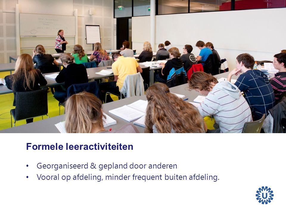 Formele leeractiviteiten Georganiseerd & gepland door anderen Vooral op afdeling, minder frequent buiten afdeling.