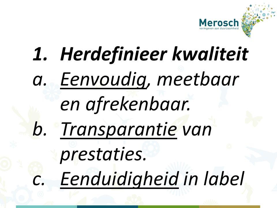 1.Herdefinieer kwaliteit a.Eenvoudig, meetbaar en afrekenbaar.