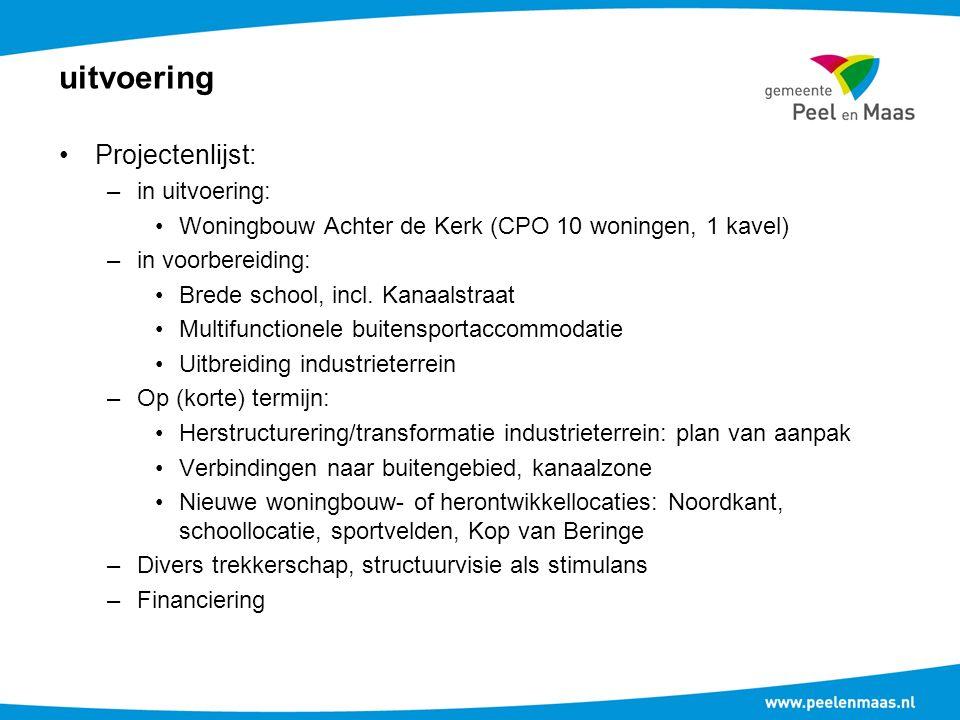 uitvoering Projectenlijst: –in uitvoering: Woningbouw Achter de Kerk (CPO 10 woningen, 1 kavel) –in voorbereiding: Brede school, incl.