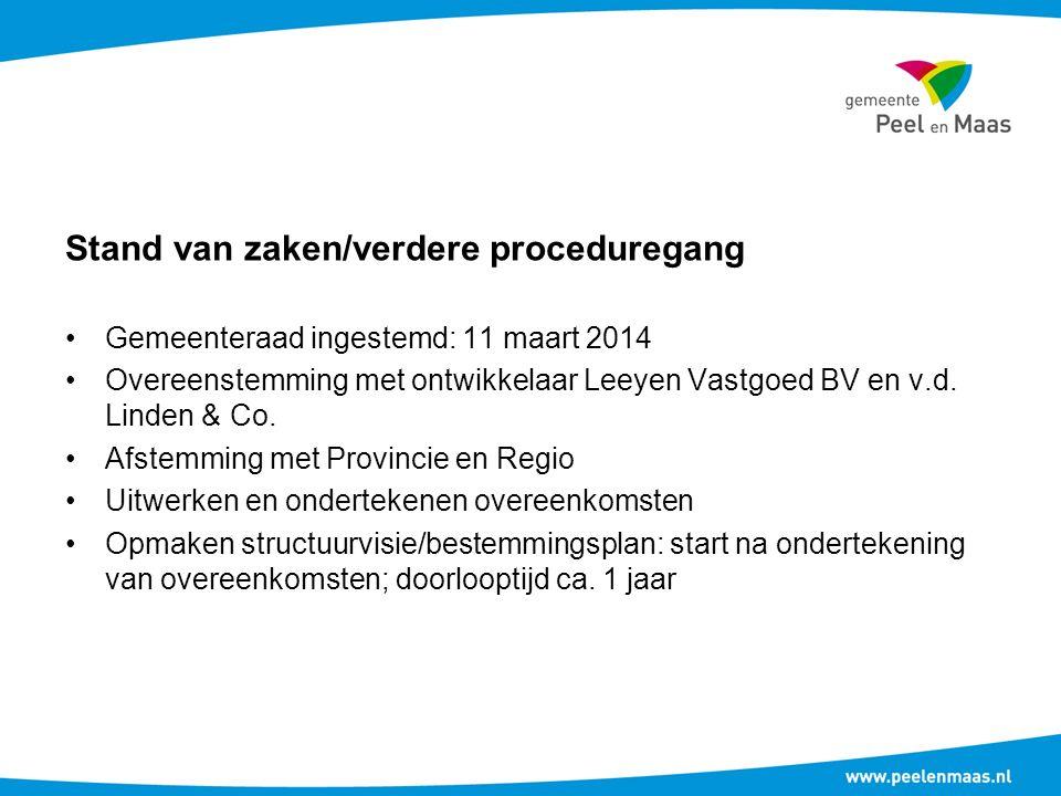 Stand van zaken/verdere proceduregang Gemeenteraad ingestemd: 11 maart 2014 Overeenstemming met ontwikkelaar Leeyen Vastgoed BV en v.d.
