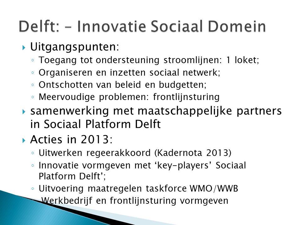  Uitgangspunten: ◦ Toegang tot ondersteuning stroomlijnen: 1 loket; ◦ Organiseren en inzetten sociaal netwerk; ◦ Ontschotten van beleid en budgetten; ◦ Meervoudige problemen: frontlijnsturing  samenwerking met maatschappelijke partners in Sociaal Platform Delft  Acties in 2013: ◦ Uitwerken regeerakkoord (Kadernota 2013) ◦ Innovatie vormgeven met 'key-players' Sociaal Platform Delft'; ◦ Uitvoering maatregelen taskforce WMO/WWB ◦ Werkbedrijf en frontlijnsturing vormgeven