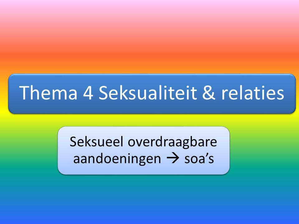 Thema 4 Seksualiteit & relaties Seksueel overdraagbare aandoeningen  soa's