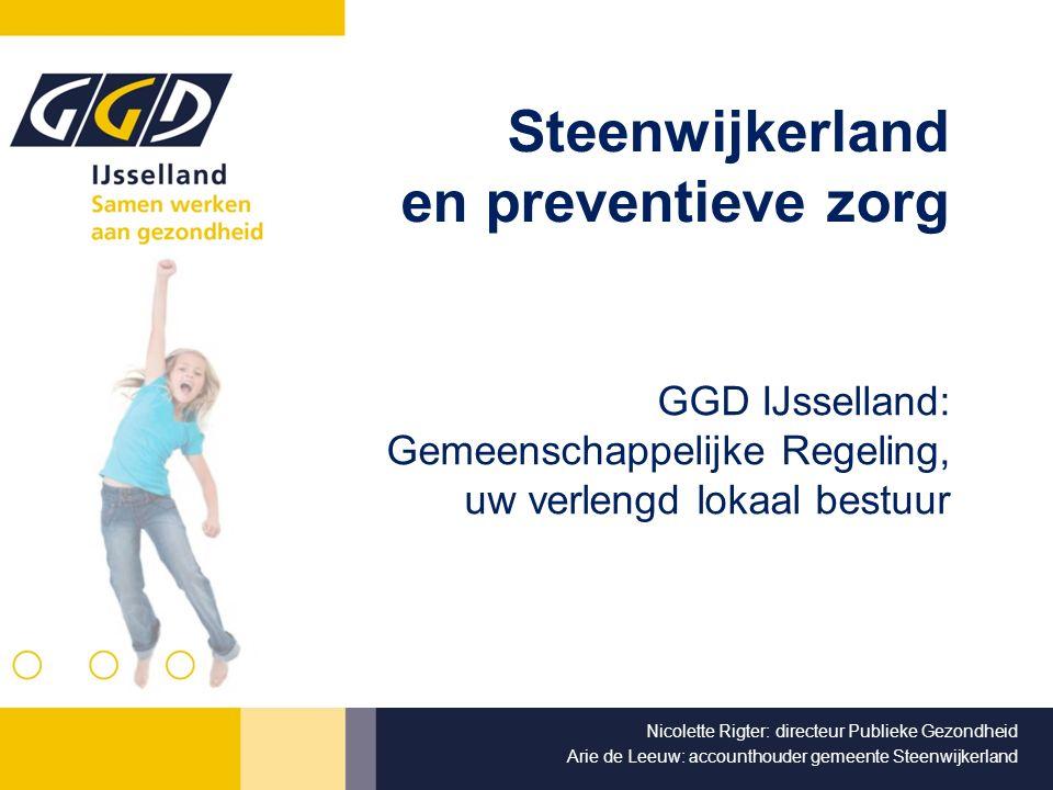 Inhoud Oorsprong Preventie GGD in het systeem 2 soorten taken Bewaken, beschermen en bevorderen Onze werkterreinen Basistaken Uitdagingen 21 e eeuw GGD in Steenwijkerland Financiering