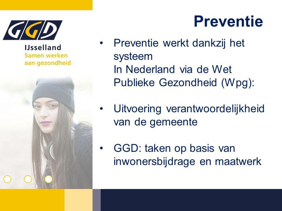 Preventie werkt dankzij het systeem In Nederland via de Wet Publieke Gezondheid (Wpg): Uitvoering verantwoordelijkheid van de gemeente GGD: taken op basis van inwonersbijdrage en maatwerk Preventie