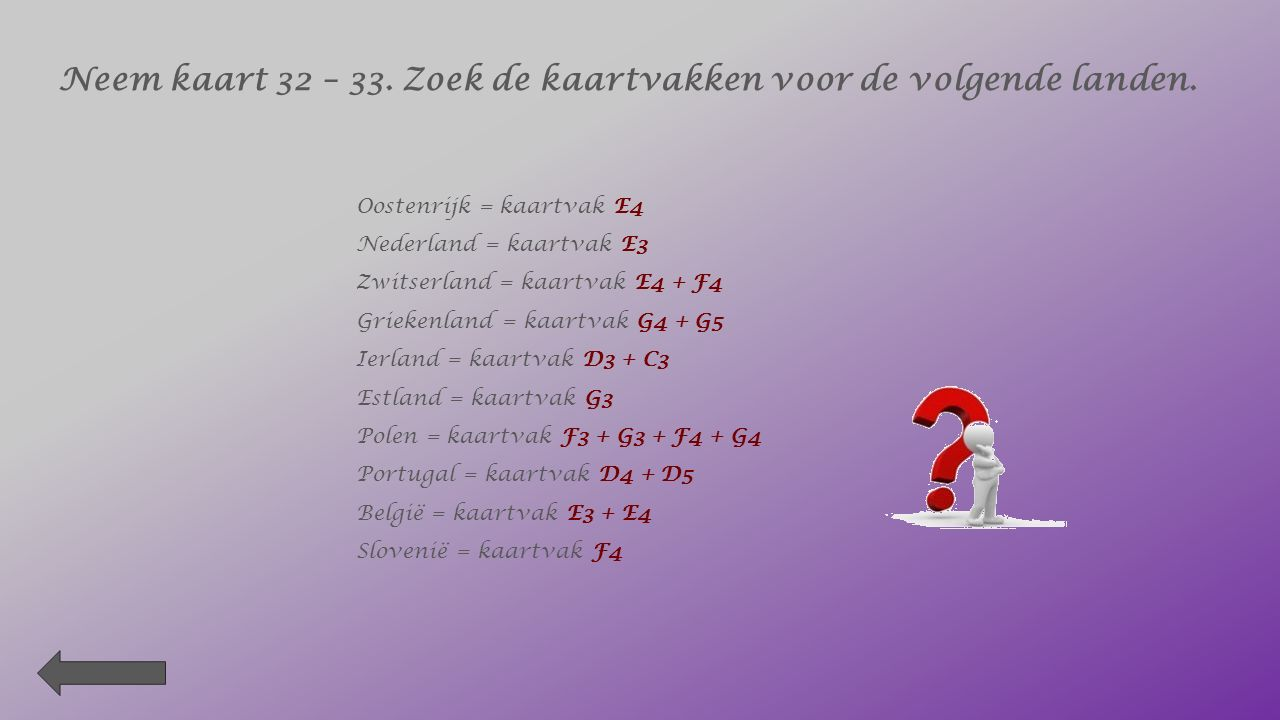 3. Welk buurland ligt in kaartvak E4 ? Luxemburg 4. Welke zeestad ligt er buiten kaartvak B2 ? De Panne 5. In welk kaartvak ligt Brussel grotendeels ?