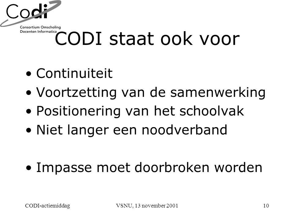 CODI-actiemiddagVSNU, 13 november 200110 CODI staat ook voor Continuiteit Voortzetting van de samenwerking Positionering van het schoolvak Niet langer een noodverband Impasse moet doorbroken worden