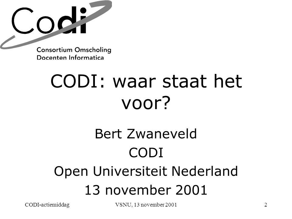CODI-actiemiddagVSNU, 13 november 20012 CODI: waar staat het voor.