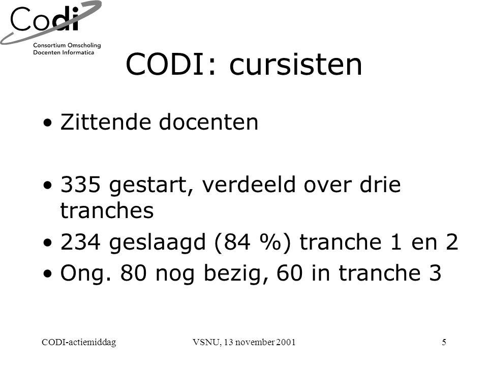 CODI-actiemiddagVSNU, 13 november 20015 CODI: cursisten Zittende docenten 335 gestart, verdeeld over drie tranches 234 geslaagd (84 %) tranche 1 en 2 Ong.
