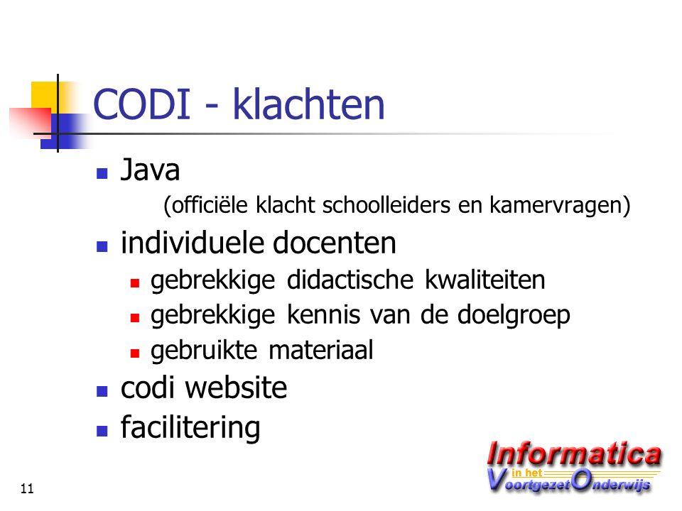 11 CODI - klachten Java (officiële klacht schoolleiders en kamervragen) individuele docenten gebrekkige didactische kwaliteiten gebrekkige kennis van de doelgroep gebruikte materiaal codi website facilitering