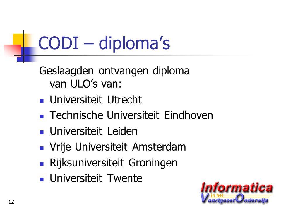 12 CODI – diploma's Geslaagden ontvangen diploma van ULO's van: Universiteit Utrecht Technische Universiteit Eindhoven Universiteit Leiden Vrije Universiteit Amsterdam Rijksuniversiteit Groningen Universiteit Twente