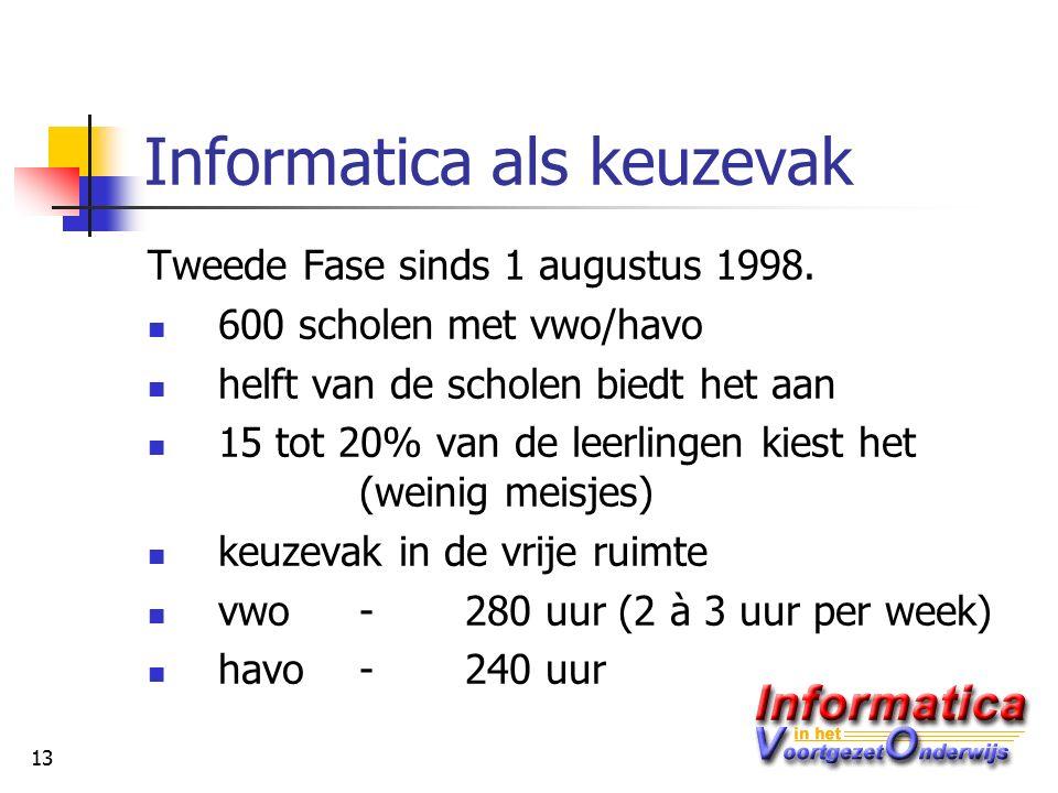 13 Informatica als keuzevak Tweede Fase sinds 1 augustus 1998.