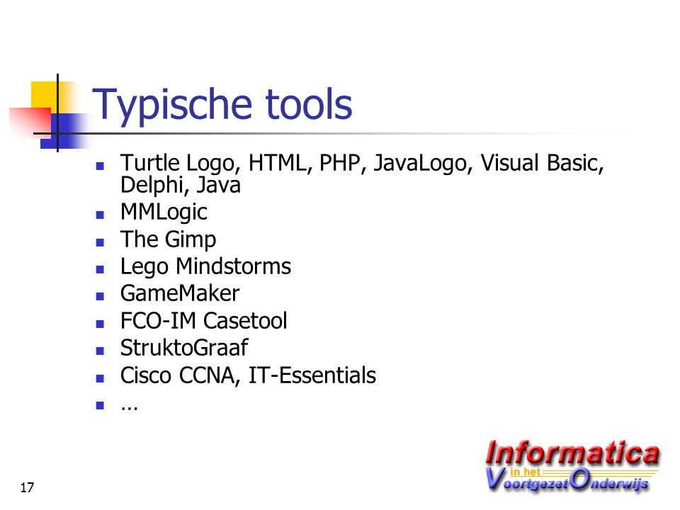 17 Typische tools Turtle Logo, HTML, PHP, JavaLogo, Visual Basic, Delphi, Java MMLogic The Gimp Lego Mindstorms GameMaker FCO-IM Casetool StruktoGraaf Cisco CCNA, IT-Essentials …