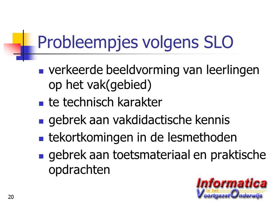 20 Probleempjes volgens SLO verkeerde beeldvorming van leerlingen op het vak(gebied) te technisch karakter gebrek aan vakdidactische kennis tekortkomingen in de lesmethoden gebrek aan toetsmateriaal en praktische opdrachten