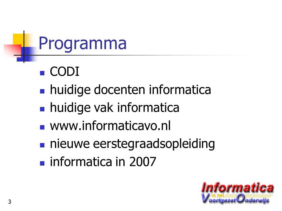 3 Programma CODI huidige docenten informatica huidige vak informatica www.informaticavo.nl nieuwe eerstegraadsopleiding informatica in 2007
