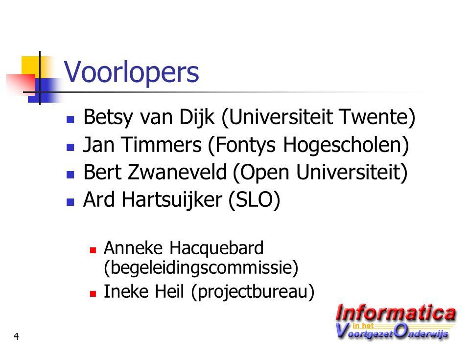 4 Voorlopers Betsy van Dijk (Universiteit Twente) Jan Timmers (Fontys Hogescholen) Bert Zwaneveld (Open Universiteit) Ard Hartsuijker (SLO) Anneke Hacquebard (begeleidingscommissie) Ineke Heil (projectbureau)