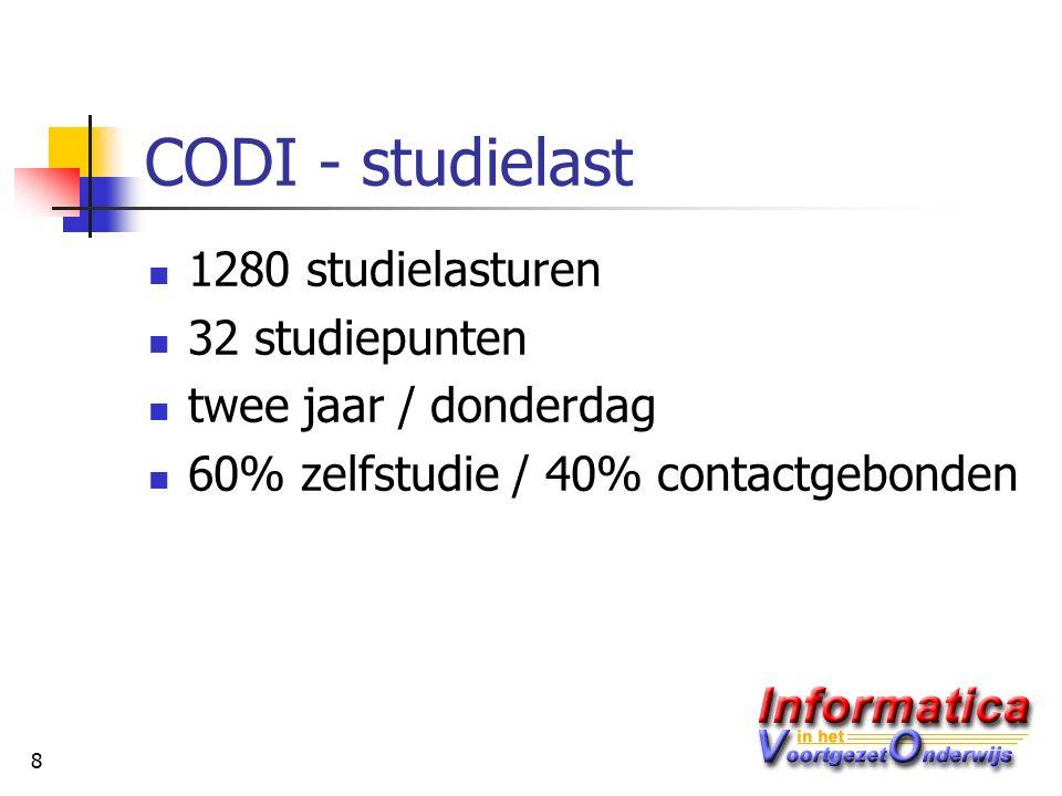8 CODI - studielast 1280 studielasturen 32 studiepunten twee jaar / donderdag 60% zelfstudie / 40% contactgebonden