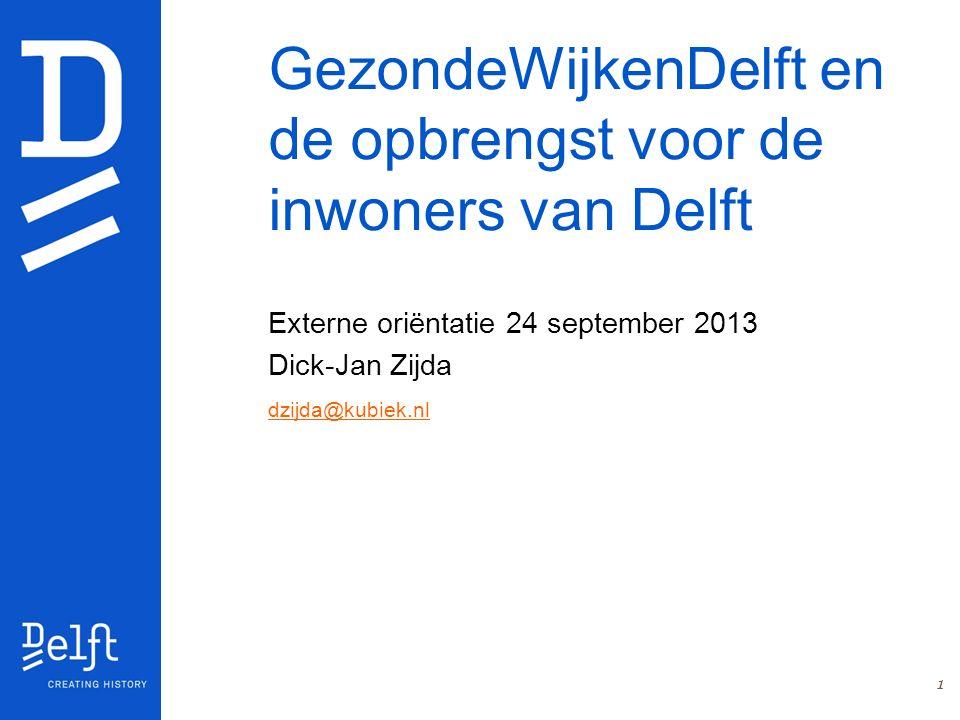 GezondeWijkenDelft en de opbrengst voor de inwoners van Delft Externe oriëntatie 24 september 2013 Dick-Jan Zijda dzijda@kubiek.nl 1
